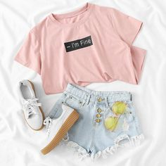 our fave #OOTD = denim shorts + pink tee. shop link in bio. (SK
