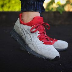 Laced Up Laces | Red Wax Premium Shoelaces | Concepts x Asics Gel Lyte V – Grey / Red | Cop on www.laceduplaces.com