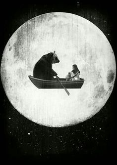 illustration bear / boat sail away with me , magical grimm and fairy sory book modern illustration print , lets go off to meet the moon and the stars said bear i have a rowing boat for two Art And Illustration, Illustrations, Into The Wild, Photocollage, Alphonse Mucha, Stars And Moon, Collage Art, Dream Collage, Psychedelic