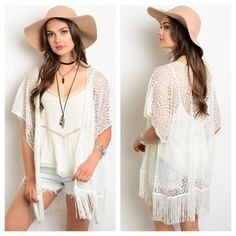 White Netted Fringe Kimono Delicate White Netted Patterned Kimono with Fringe at the Bottom. Open Front. 100% Polyester. Perfect for Spring and Summer Days, Nights, and Festivals!   *Ivory Boho Blouse also available in my closet*   Size Available: S M L  *Please let me know which size you'd like, and I will create you a listing* Tops
