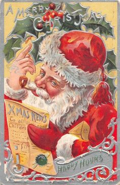 Antique Christmas Postcard of Santa Claus by OnePeculiarGirl Christmas Card Images, Vintage Christmas Images, Christmas Graphics, Old Christmas, Christmas Scenes, Victorian Christmas, Retro Christmas, Christmas Pictures, Christmas Greetings