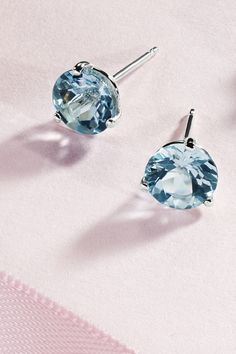 Aquamarine captures the beauty of the sea. Gemvara's icy aqua freshens earth tones, grey, and navy and blends with other pastels. 14k White Gold Earrings, Blue Gemstones, Classic Chic, Color Theory, Earth Tones, Blue Topaz, Pastels, Round Diamonds, Belly Button Rings