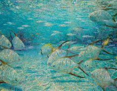 David C. Gallup & Nansi J. Bielanski Collaborative Art, fine art - David C. Underwater Painting, Lake Painting, Sculpture Painting, Painting Canvas, Watercolour Painting, Watercolors, Coastal Art, Ocean Art, Fish Art