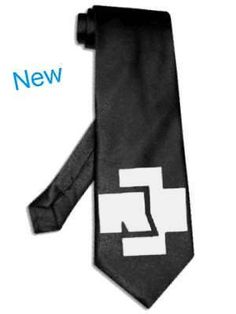 rammstein tie Black satin silk necktie Silver Image by starzcase on Etsy
