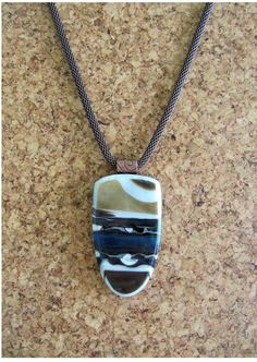 """Free Shipping!  Brown / Vanilla Thumb Nail - Fused Glass Pendant with Vanilla and Turquoise Glass on an 18-20"""" Copper Plated Mesh Chain"""