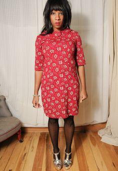 60's red mini dress
