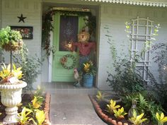 Scarecrow and wreath made of springs (from Cherry Hill Cottage)