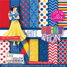 Digital Paper SNOW WHITE Princess apple clip art Background Patterns glitter yellow red blue for Party Printables bottle labels favor boxes