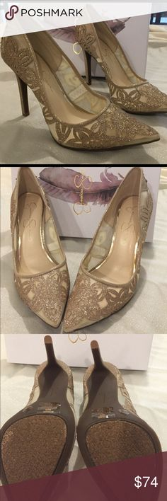 Jessica Simpson - Charese Heel Sz 8M Gorgeous night on the town heel by JS. Color is Moet (champagne) - Light Sheet. Material is dusty glitter with fine mesh. Winter 2016 style. Never worn and kept in box. Make me an offer! Jessica Simpson Shoes Heels