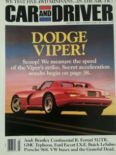 Car And Driver March 1992 English Automobile Magazine Dodge Viper Cover Ads