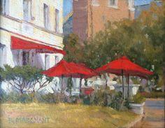 "'Monument Avenue Cafe"" Beth Marchant 9"" x 12"" Oil #art #artist #artwork #fineart #oil #oiloncanvas #oilpainting #paint #painting #painter #mynoodlebar #cafe #restaurant #asianfood #food #outdoors #umbrella #red #pleinair #bethmarchant #braziergallery"