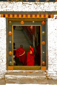 Doorway of Punakha Dzong . Bhutan