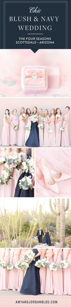 Navy and pink wedding inspiration | Tara Latour navy wedding dress | Blush pink Jenny Yoo bridesmaids dresses | Succulent bouquets | Navy and blush wedding at Four Seasons Scottsdale