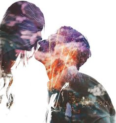 Portrait double exposure fireworks  proposal
