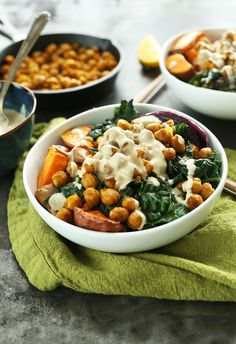 Flavorful, filling, 30-minute Buddha Bowl with sweet potatoes, chickpeas, kale and onion, and a tahini-maple sauce! A healthy and satisfying vegan meal.