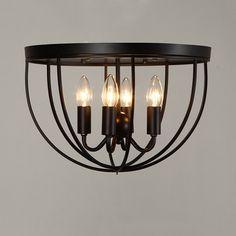 Rustic 4-Light Black Metal Round Cage Semi Flush Mount Ceiling Light