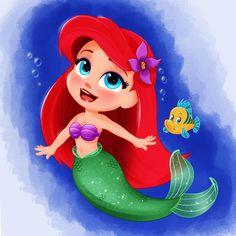 Kawaii Disney, Ariel Disney, Disney Little Mermaids, Disney Art, Walt Disney, Disney Princess, Princess Cakes, Disney Character Drawings, Cute Disney Drawings