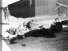 Buchenwald, Germany, April 1945, Survivors in the camp.