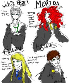 The big four but I think Hiccup and Rapunzel need to swop houses