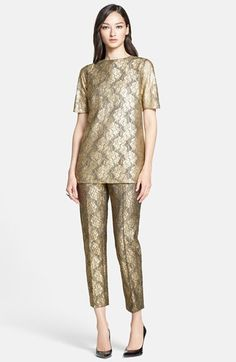 St. John Collection Elbow Sleeve Gilded Lace Tunic available at #Nordstrom