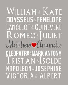 Famous Couples and Royal Couples  8x10 Custom by WanderingFables