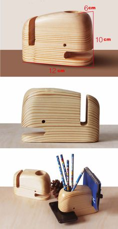 Wooden Whale Desk Organizer Pen Holder Smartphone Holder
