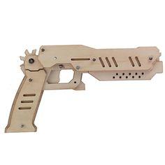Brinquedo de madeira diy arma elástico