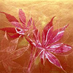 Autumn leaves print: Monotype, Monoprint, unique