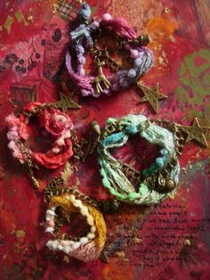 Items similar to Shades of Winter - boho/hippie/gypsy fiber,yarn and charm bracelet on Etsy Handmade Cards, Handmade Gifts, Jewelry Illustration, Paper Crafts, Diy Crafts, Hippie Gypsy, Yarn Projects, Fabric Flowers, Fiber Art