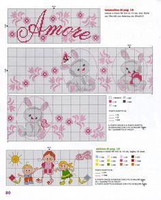 pattern for girl & boy Cross Stitch For Kids, Cute Cross Stitch, Cross Stitch Borders, Cross Stitch Designs, Cross Stitching, Cross Stitch Embroidery, Cross Stitch Patterns, Craft Patterns, Baby Patterns