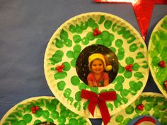 This is a close up view of Christmas wreath on bulletin board. (see pin just before this for pic of full board)