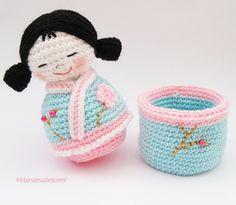 Japanese kokeshi girls jewelry box Amigurumi