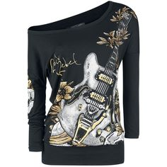 Long-sleeved shirt from Rock Rebel by EMP:  - All-over print - Boat neckline - Long sleeves  This 'Overgrowned Guitar' long-sleeved top from Rock Rebel by EMP is perfect for all fans of the six-stringed instrument. This long-sleeved top will win you over with an impressive print of a guitar on the front. The wide boat neckline means you can wear it different ways. Looking for an off-the-shoulder look? No problem!