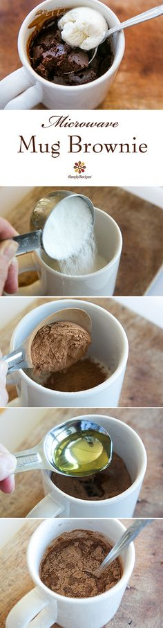 in a Mug Brownie in a Mug ~ Easiest brownie ever, a single serving brownie microwaved in a mug. ~ Brownie in a Mug ~ Easiest brownie ever, a single serving brownie microwaved in a mug. Single Serve Brownie, Brownie In A Mug, Easy Mug Brownie Recipe, Single Serving Desserts, Cookie In A Mug, Microwave Recipes, Baking Recipes, Dessert Recipes, Microwave Food