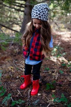 Sweet Little Peanut | girls fall/winter fashion looks. Love this plaid puffer vest + snow leopard beanie + winter boots look!