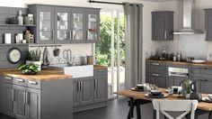 cuisine grise total look bois brut dégradé rustique Lapeyre                                                                                                                                                                                 Plus