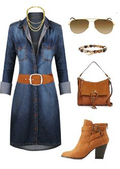 Denim dress outfit #fashionstyle