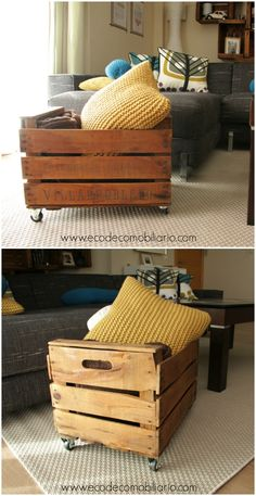 Revistero con caja de fruta reciclada y ruedas. Disponible en www.ecodecomobiliario.com