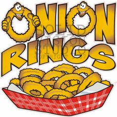 "7"" Onion Rings Restaurant Bar Concession Trailer Bar Fast Food Vinyl Sign Decal"