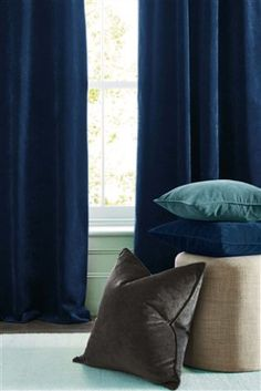 Buy Soft Velour Pencil Pleat Lined Curtains from the Next UK online shop Turquoise Pillows, Bedroom Turquoise, Gold Pillows, Yellow Curtains, Lined Curtains, Curtain Fabric, Blackout Curtains, Living Room Color Schemes, Blue Color Schemes
