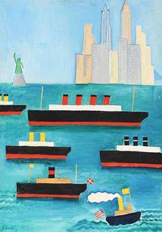 Hans Scherfig - Skibe venter på karantænebåden ud for N.Y. havn, 1929