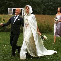 Pin for Later: This Model Walked Down the Aisle in a Hooded Cape — but What She Had On Underneath Will Leave You in Awe Hanne Wore a Long Cape Instead of a Veil