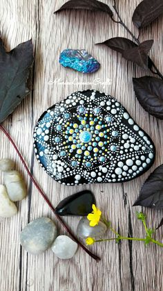 Mandala stone, black and white decor, meditation stone, dot art, office decor, bedroon decor, gift for her, painted rocks, painted stones. by MariaLucescuCrafts on Etsy