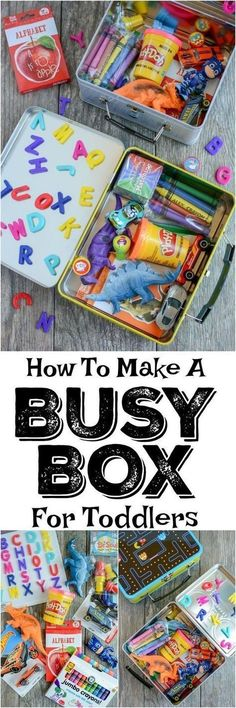 Toddler tips and activities. Learn how to make a busy box for toddlers. These boxes are easy to customize and perfect for keeping toddlers occupied at a restaurant, on a plane, while mom is nursing and more! Toddler Play, Toddler Learning, Baby Play, Toddler Crafts, Toddler Games, Baby Crafts, Toddler Chair, Toddler Stuff, Girl Toddler