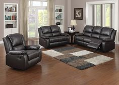 GAVIN  The Gavin collection is the dependable living room set that sets the standard for comfort and effortless style. Smooth dark brown reconstituted leather and smart contrast stitching cover plush armrests, seats, and backrests. Find the perfect place to sit back and relax with the sofa or loveseat's dual manual reclining seats., Finish the look with the matching manual reclining armchair.