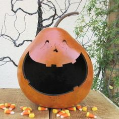 Halloween Gourd Jack O Lantern Large Natural by pinchmeboutique