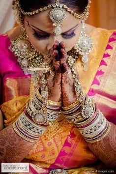 Tamil Hindu Wedding Ceremony Bride Silk Kanchipuram Saree Kundan Jewellery Bangles - more inspiration @ http://www.ModernRani.com