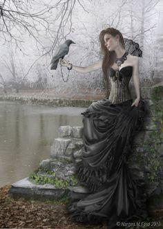 Gothic raven, chain bracelet