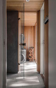 Sauna located in the archipelago of Turku, Finland. The building blends perfectly into the surrounding terrain. Cool Ideas, Varanasi, Black Box, Archipelago, Decorating Your Home, Architecture, Building, Interior, Cabin Ideas