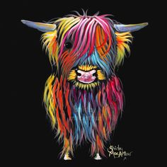 Resultado de imagen para highland cattle in scotland Highland Cow Painting, Highland Cow Canvas, Highland Cow Art, Scottish Highland Cow, Highland Cattle, Highland Cow Tattoo, Colorful Animal Paintings, Cow Colour, Cow Pictures